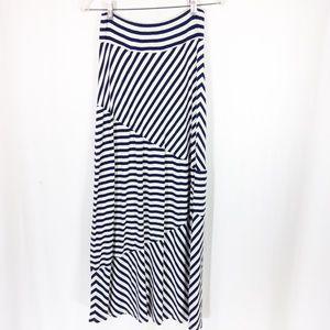 Boho Navy Blue and Cream Maxi Skirt S